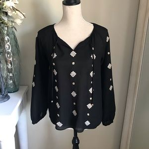THML Black Boho Peasant Embroidered Top, XS